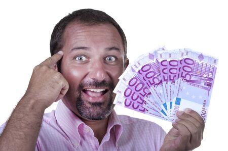 smiling man with 500 euro on white background Stock Photo - 10411842