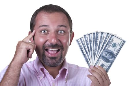 smiling man with $ 100 bills on white background photo