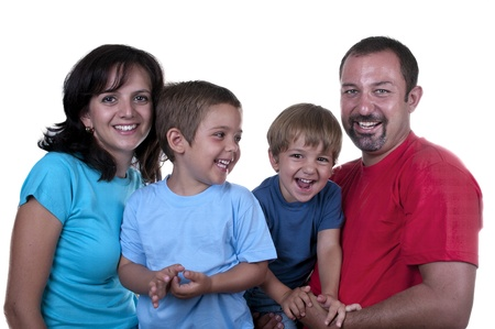 young family with two children on white background photo