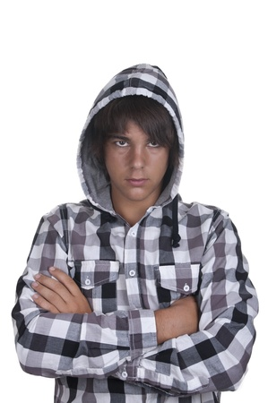 Closeup of a teenager wearing a hoodie, underlit on white background photo