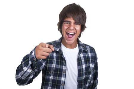 bawl: teenage boy crying on white background Stock Photo