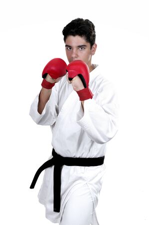 Karate male fighter young  on white background Stock Photo - 14503202