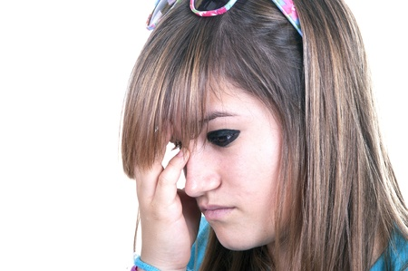 he said: redhead teenage with migraine on white background Stock Photo
