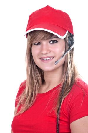 blonde teen operator on white background