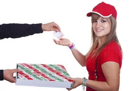 pizza delivery girl on white background photo