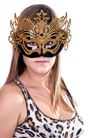 attractive woman with carnival mask on white background photo