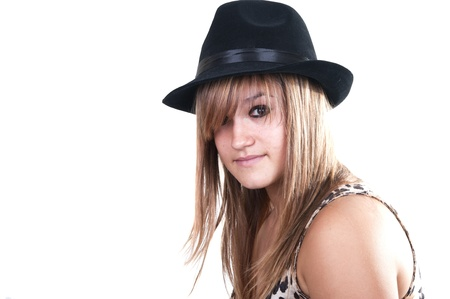 blonde teen with black hat on white background photo