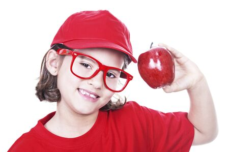 smiling girl with red apple on white background Stock Photo - 14518682