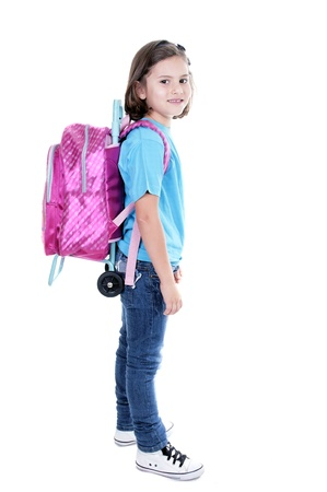 student with backpack toddler on white background Stock Photo