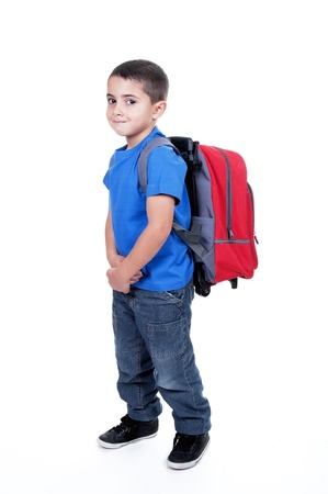 student with backpack toddler on white background photo