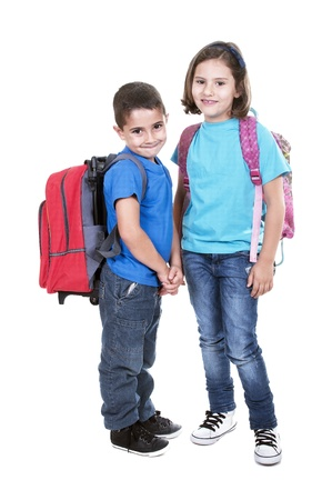 girls back to back: Students of different ages with a backpack isolated on white
