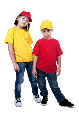 boy and girl with cap on white background photo