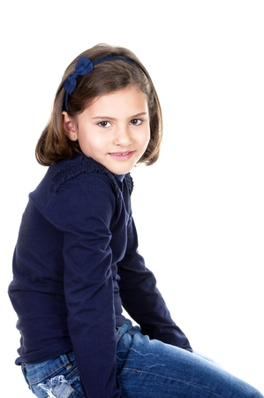 beautiful little girl on white background photo