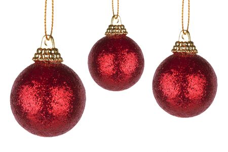 Red christmas balls on white background photo