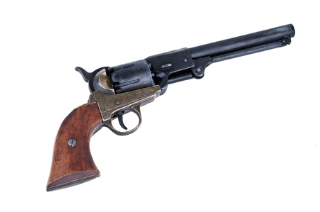 six shooter: old metal colt revolver on white background Stock Photo