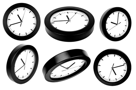 A number of clocks isolated on white  photo