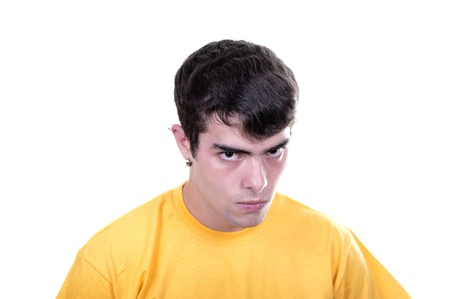 bawl: angry teenage boy on white background Stock Photo