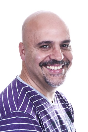 human's arm: smiley bald on white background Stock Photo