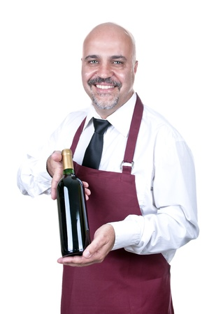 Sommelier Waiter with bottle of red wine isolated photo