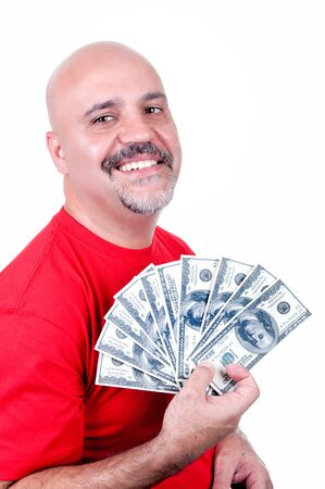 smiling man with $ 100 bills on white background Stock Photo - 14827666