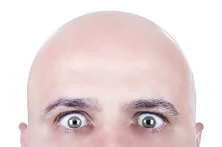 ugly mouth:  bald head looking face isolated