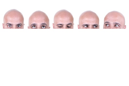 Bald actor faces on white background photo
