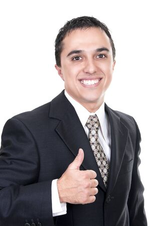 latino business man going thumb up, isolated on white  photo