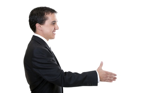 businessman reaching out to shake hands on white background photo