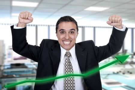 encourage: Hispanic businessman successfully in office Stock Photo
