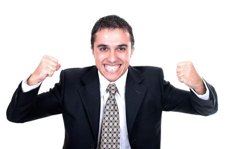 Hispanic businessman successfully on white background