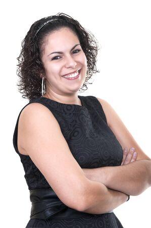 Beautiful latin woman on white background