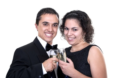 couple toasting with champagne on white background photo