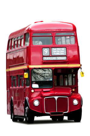 double decker: A bright red traditional London bus isolated over white