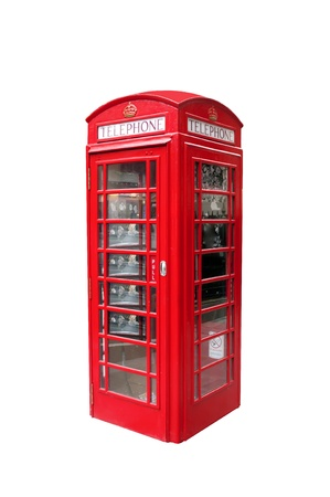 The typical red telephone booth of London, on white background photo