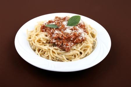 Spaghetti bolognese in white plate