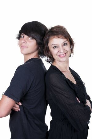 mother and son showing affection over a white background  photo