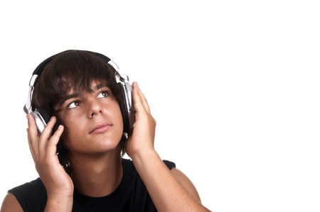 hot guy: young boy listening to music with headphones Stock Photo