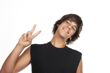 victory sign: Teenage boy making the sign of victory