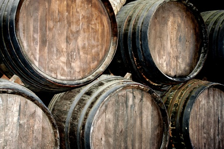 Wine barrels in a wine cellar in lanzarote photo
