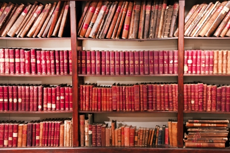 antiquary: old books of accounts in a wood library