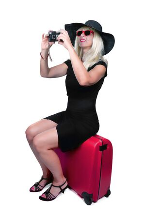 bright picture of lovely woman with suitcase  photo