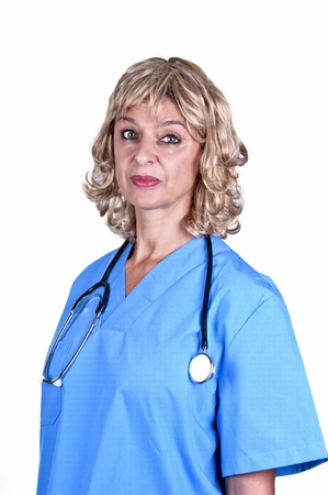 young doctor in medical gown with stethoscope photo
