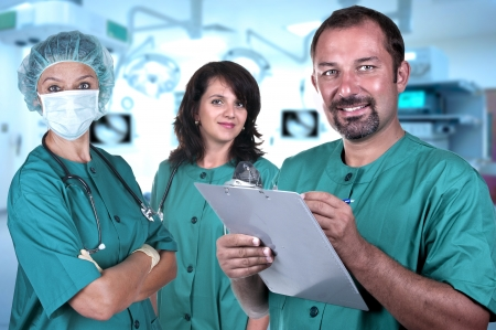 Smiling medical team in a hospital interior 