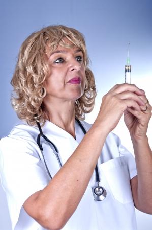 beauty medical nurse with syringe  photo