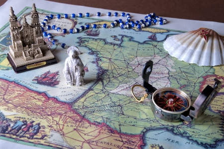 pilgrim journey: camino de santiago de compostelle in spain Stock Photo