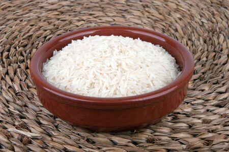 basmati: Single bowl of healthy organic basmati rice.  Stock Photo