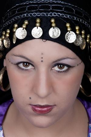 gipsy: gypsy girl on black background Stock Photo