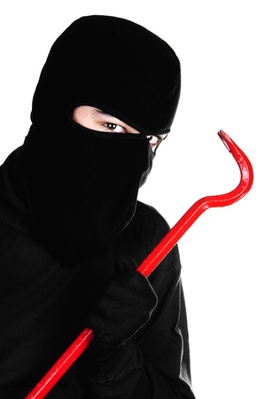 ladron: Retrato de un joven ladr�n masculino sobre fondo blanco