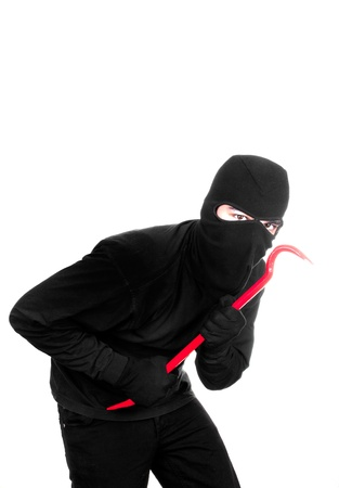 thief with lever on white background Stock Photo