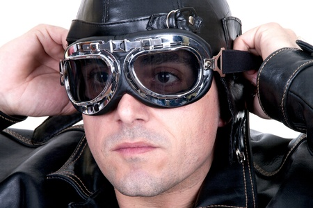 adventure aeronautical: retro aviator on white background